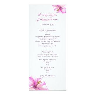 Rosa Hibiskus-Hochzeits-Programme 10,2 X 23,5 Cm Einladungskarte