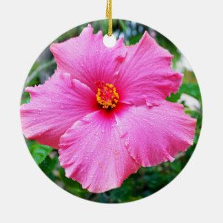 Rosa Hibiskus-Regen besprüht, Rundes Keramik Ornament