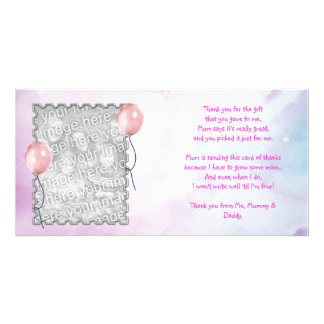 Rosa Himmel danken Ihnen, vom Baby zu kardieren Photokartenvorlagen
