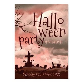 Rosa Himmel-Halloween-Friedhofs-Einladung Karte