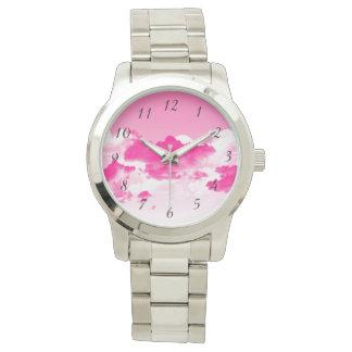 Rosa Himmel und Wolkenarmbanduhr Uhr
