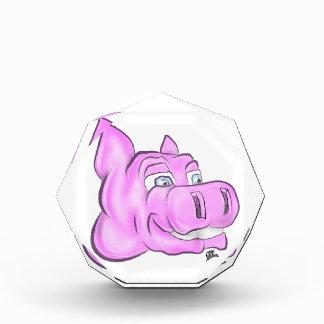 Rosa Hippopotamus-Hippie-glückliches Gesicht Acryl Auszeichnung
