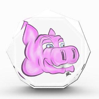Rosa Hippopotamus-Hippie-glückliches Gesicht Auszeichnung