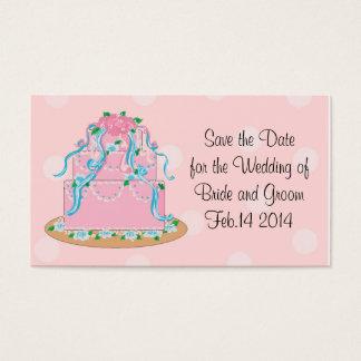 Rosa Hochzeits-Kuchen Save the Date Visitenkarte