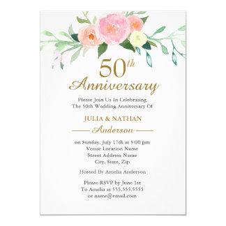 Rosa Hochzeitstag Wildflow Aquarell-50. Karte
