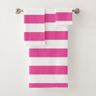 Rosa horizontale Streifen Badhandtuch Set