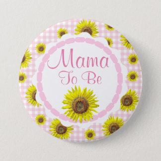 Rosa hübsche Sonnenblume-Mutter, zum Baby-Dusche Runder Button 7,6 Cm