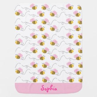 Rosa Hummel-Bienen-Baby-Decke Babydecken