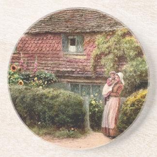 Rosa Hütten-Mutter und Kind Getränkeuntersetzer