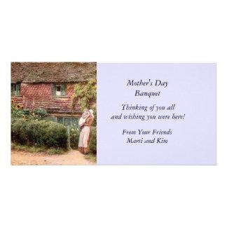 Rosa Hütten-Mutter und Kind Karte
