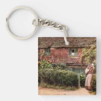Rosa Hütten-Mutter und Kind Schlüsselanhänger