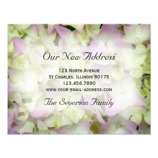 Rosa Hydrangea-neue Adressen-Mitteilungs-Karte Personalisierte Ankündigung