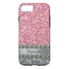 Rosa Imitat-Glitter-Diamant Bling personalisiert iPhone 8/7 Hülle