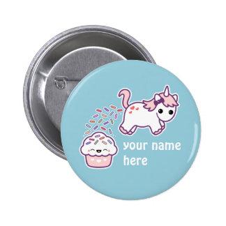 Rosa kackender Unicorn Runder Button 5,1 Cm
