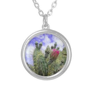 Rosa Kaktus-Blume Halskette Mit Rundem Anhänger