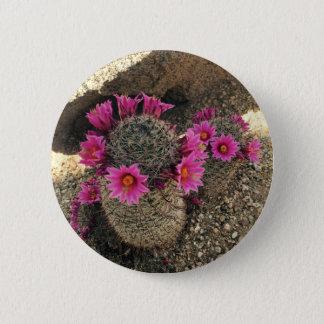 Rosa Kaktus in der Blüte Runder Button 5,7 Cm