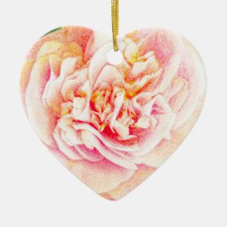 Rosa Kamelien-Traum Oranament Herz Keramik Herz-Ornament