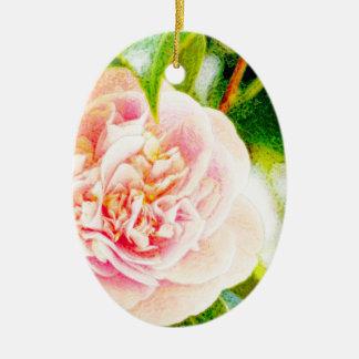 Rosa Kamelien-Traum-Verzierungsoval Ovales Keramik Ornament