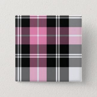 rosa kariertes quadratischer button 5,1 cm