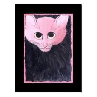 Rosa Katze. Aquarellmalerei Postkarte