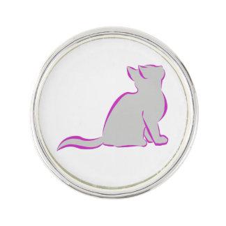 Rosa Katze, graue Fülle Anstecknadel