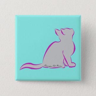 Rosa Katze, graue Fülle, innerer Text Quadratischer Button 5,1 Cm