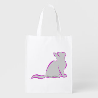 Rosa Katze, graue Fülle, innerer Text Wiederverwendbare Einkaufstasche