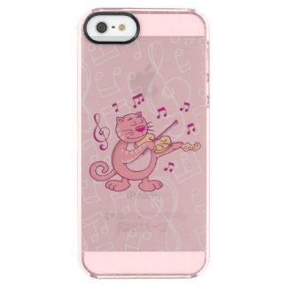 Rosa Katze mit Violine Durchsichtige iPhone SE/5/5s Hülle