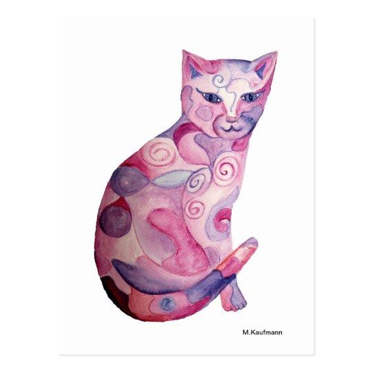 Rosa Katze Postkarte