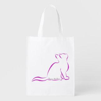 Rosa Katze, Silhouette, innerer Text Wiederverwendbare Einkaufstasche