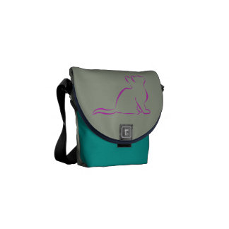 Rosa Katze sillhouette Kurier Taschen