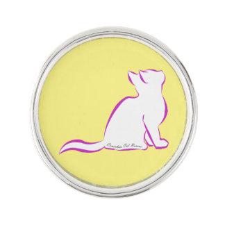 Rosa Katze, weiße Fülle, innerer Text Anstecknadel