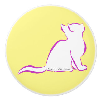 Rosa Katze, weiße Fülle, innerer Text Keramikknauf