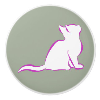 Rosa Katze, weiße Fülle Keramikknauf