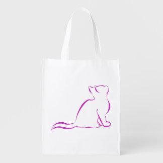 Rosa Katze, weiße Fülle Wiederverwendbare Einkaufstasche