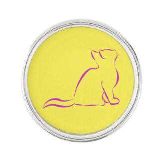 Rosa Katzen-Silhouette Anstecknadel