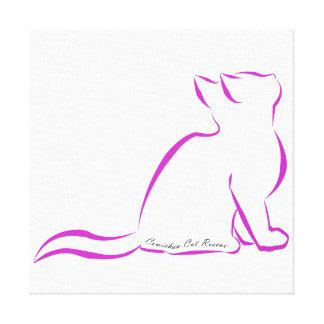 Rosa Katzen-Silhouette, innerer Text Leinwanddruck