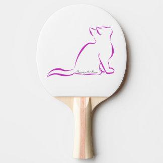 Rosa Katzen-Silhouette, innerer Text Tischtennis Schläger