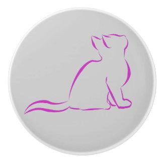 Rosa Katzen-Silhouette Keramikknauf