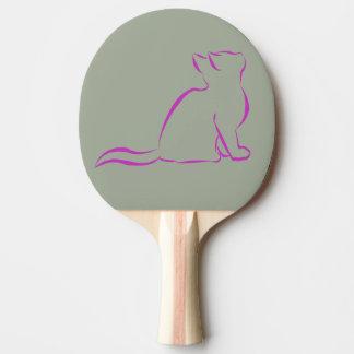 Rosa Katzen-Silhouette Tischtennis Schläger