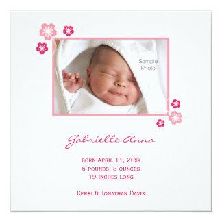 Rosa Kirschblüte-Baby-Geburts-Mitteilung Quadratische 13,3 Cm Einladungskarte
