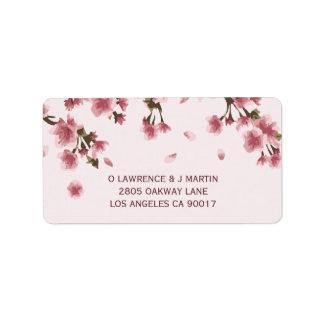 Rosa Kirschblüte mit Blumen Adressaufkleber