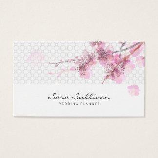 Rosa Kirschblüten, die Planer-Visitenkarte Wedding Visitenkarte