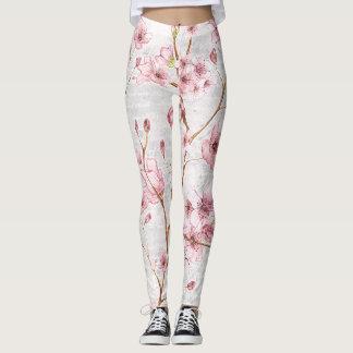 Rosa Kirschblüten-Gamaschen Leggings