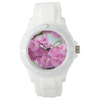 Rosa Kirschkirschblüte-Baum Uhr