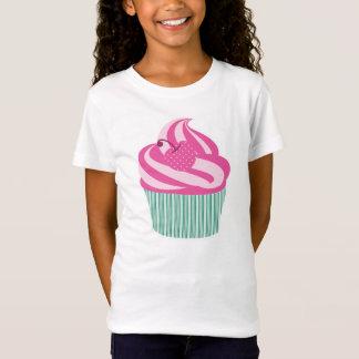 Rosa Kirschkleiner kuchen mit grünen Streifen T-Shirt