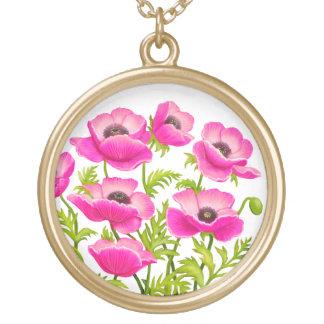 Rosa Klatschmohn-Blumen-Halskette Vergoldete Kette