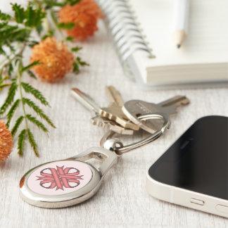 Rosa Klee-Band Silberfarbener Oval Schlüsselanhänger