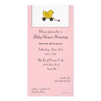 Rosa kleine Ducky Babyparty-Einladung Individuelle Photo Karte