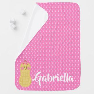 Rosa kleine Erdnuss-personalisierte Baby-Decke Babydecke